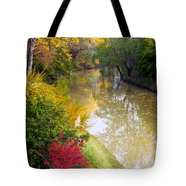 River With Autumn Colors Tote Bag