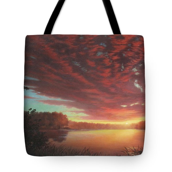 Riverbend Sunset Sky River Landscape Oil Painting American Yellow Pink Orange Tote Bag by Walt Curlee