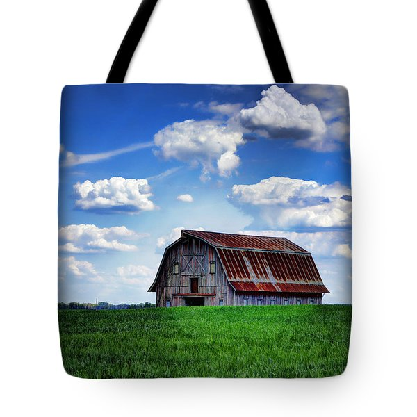 Riverbottom Barn Against The Sky Tote Bag