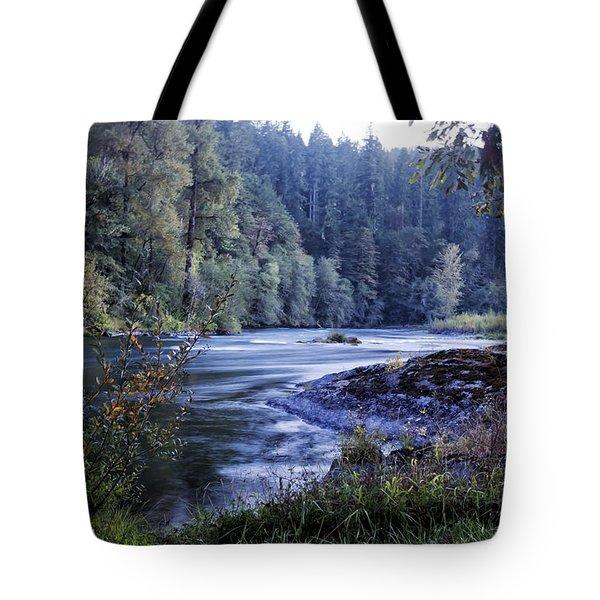 Riverflow At Dusk Tote Bag by Belinda Greb