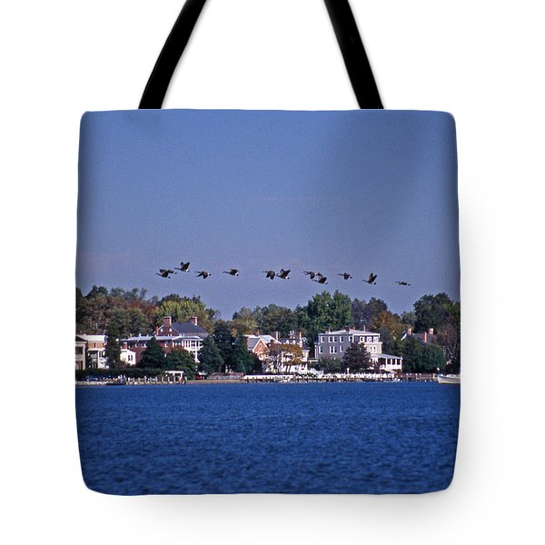Riverfront Geese Tote Bag by Skip Willits