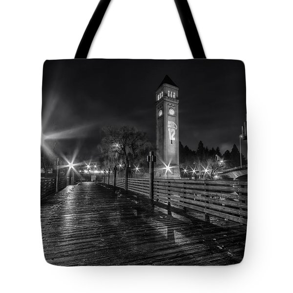 Riverfront Park Clocktower Seahawks Black And White Tote Bag