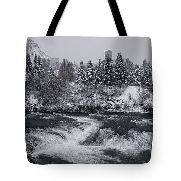 Riverfront Park Winter Storm - Spokane Washington Tote Bag by Daniel Hagerman