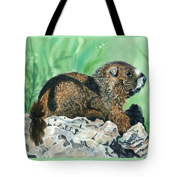 Rmbl Marmot Tote Bag by Barbara Jewell