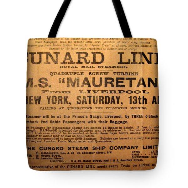 Rms Mauretania 1912 Tote Bag