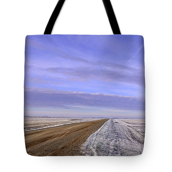 Road And Fild In Winter Time In Saskatchewan Tote Bag
