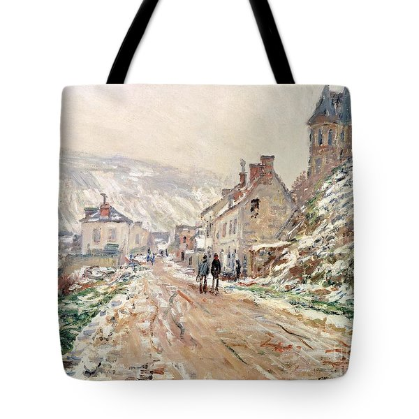 Road In Vetheuil In Winter Tote Bag by Claude Monet