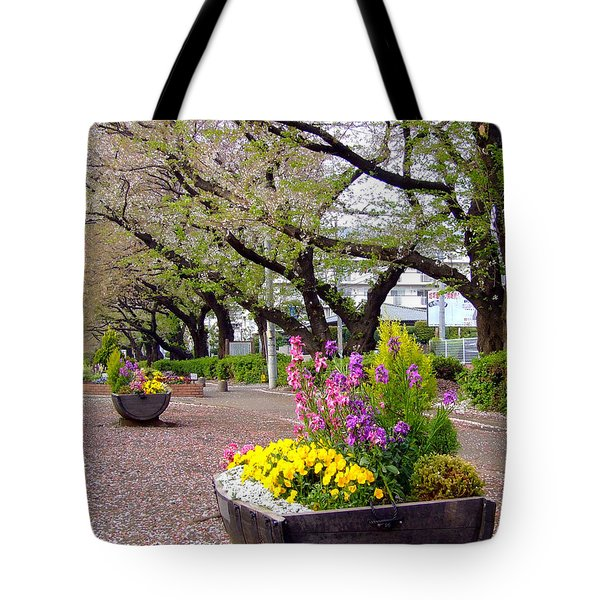 Tote Bag featuring the photograph Road Of Flowers by Andrea Anderegg