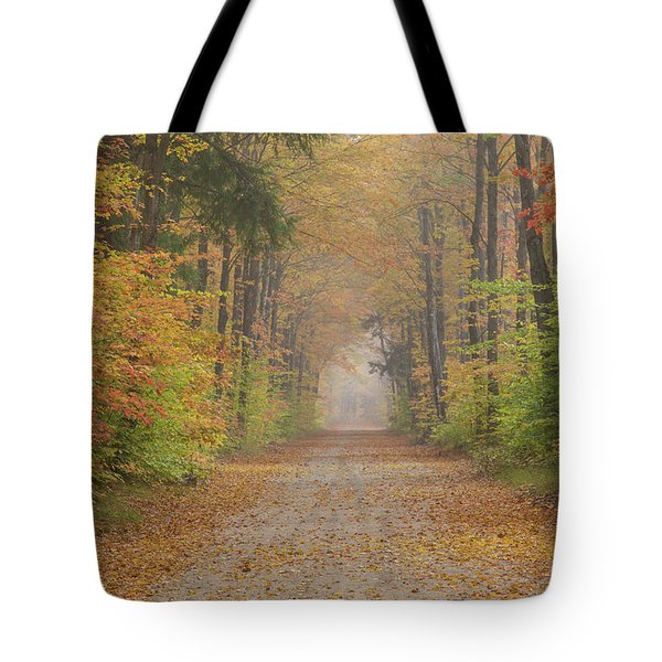 Road Passing Though Forest In Autumn Tote Bag