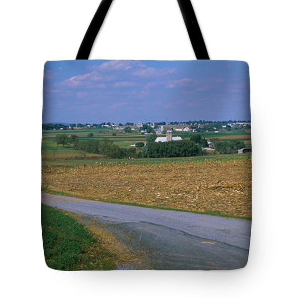 Road Passing Through A Field, Amish Tote Bag