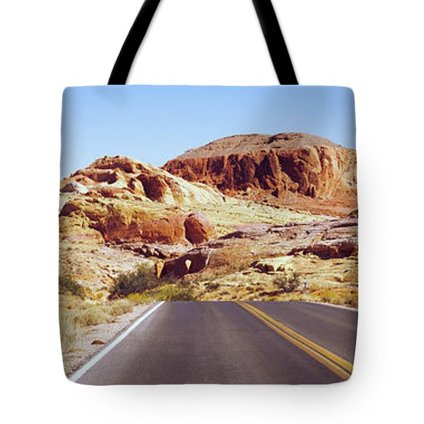 Road Passing Through The Valley Of Fire Tote Bag