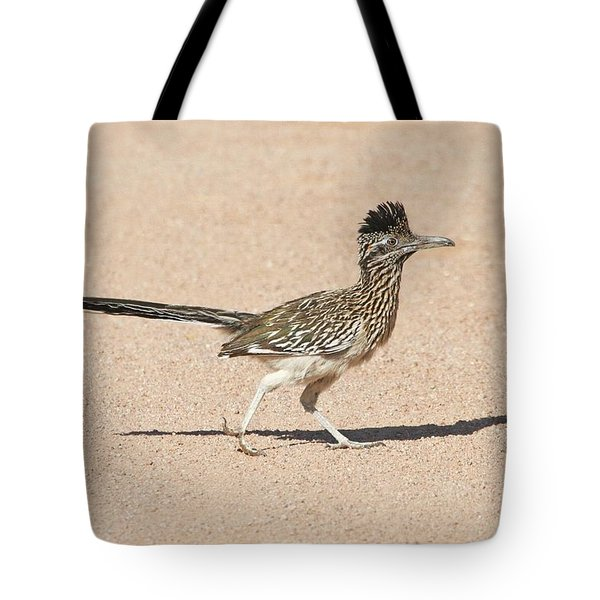 Tote Bag featuring the photograph Road Runner On The Road by Tom Janca
