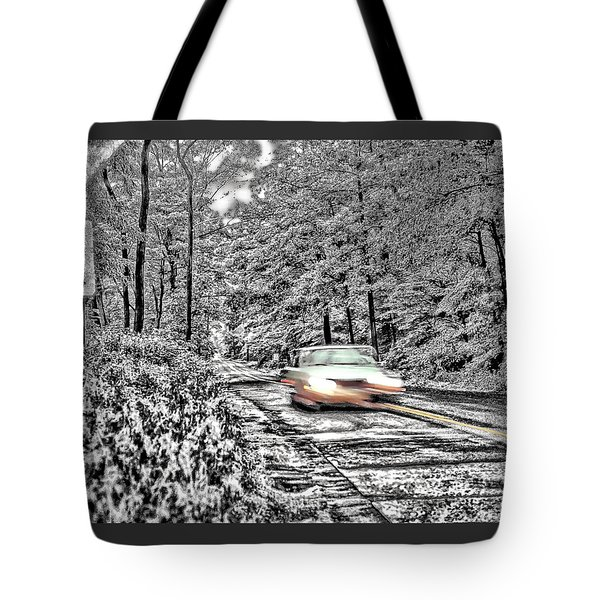 Tote Bag featuring the photograph Road Trip Through The Woods by Kellice Swaggerty