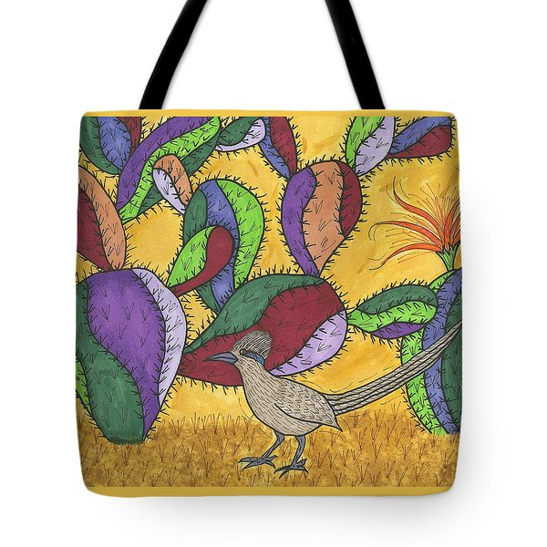 Tote Bag featuring the painting Roadrunner And Prickly Pear Cactus by Susie Weber