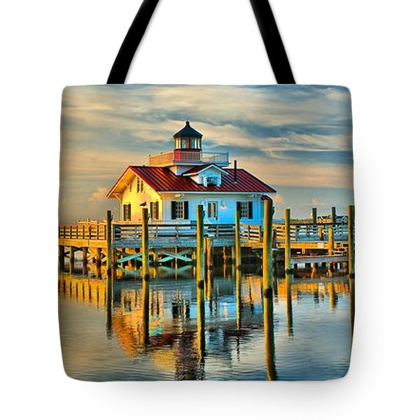Roanoke Marsh Lighthouse Dawn Tote Bag by Nick Zelinsky