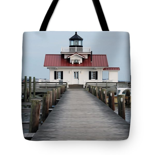 Tote Bag featuring the digital art Roanoke Marshes Lighthouse by Kelvin Booker