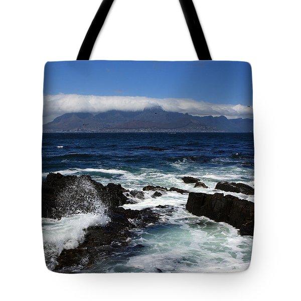 Robben Island View Tote Bag by Aidan Moran