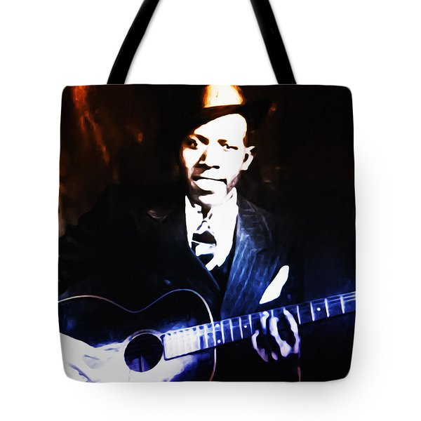 Robert Johnson - King Of The Blues Tote Bag by Bill Cannon