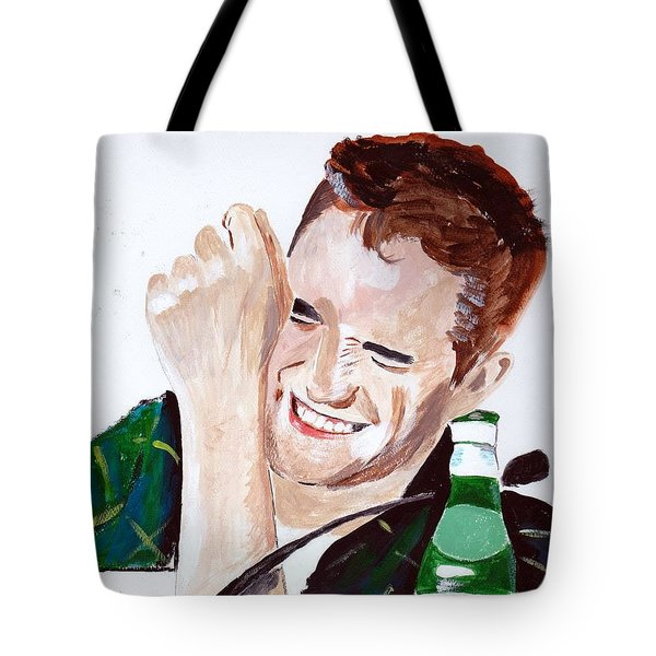 Tote Bag featuring the painting Robert Pattinson 190 by Audrey Pollitt