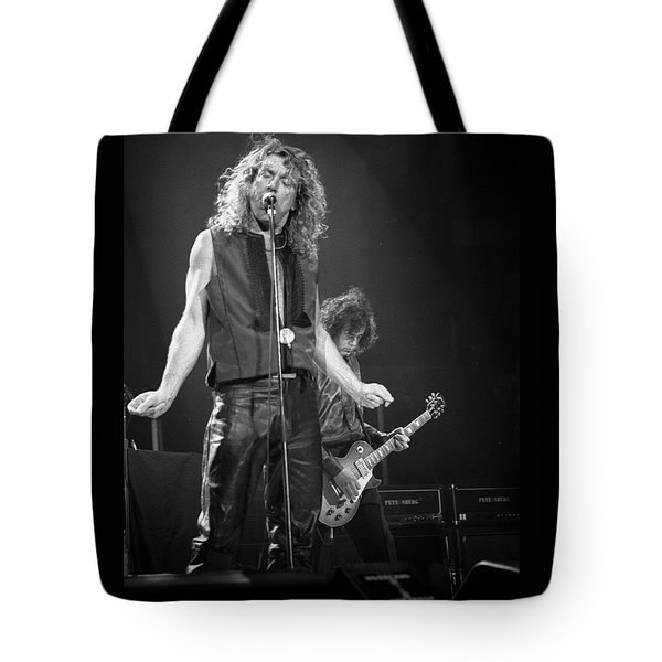 Robert Plant And Jimmy Page Tote Bag by Timothy Bischoff