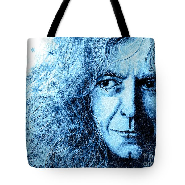 Tote Bag featuring the drawing Robert Plant Blue by Patrice Torrillo