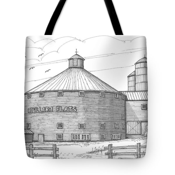 Tote Bag featuring the drawing Robillard Flats Round Barn by Richard Wambach