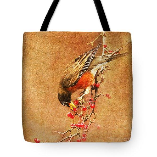 Robin Eating Berries Tote Bag