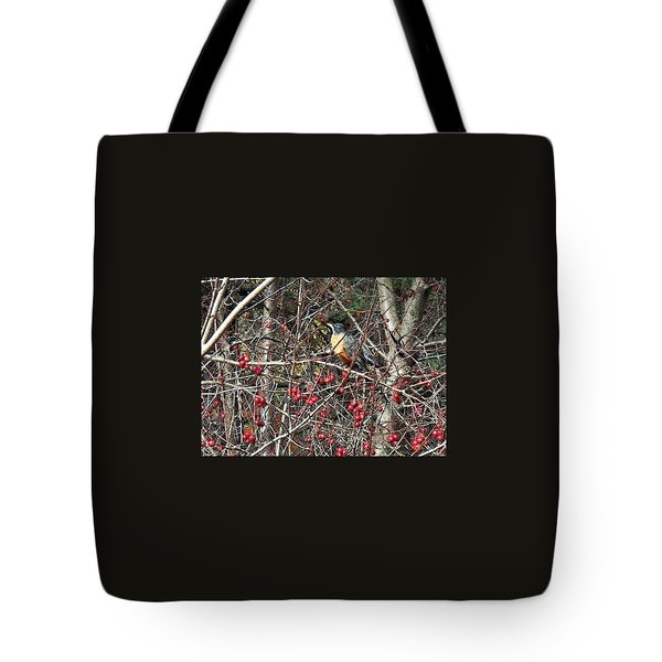 Robin In The Crab Apple Trees Tote Bag