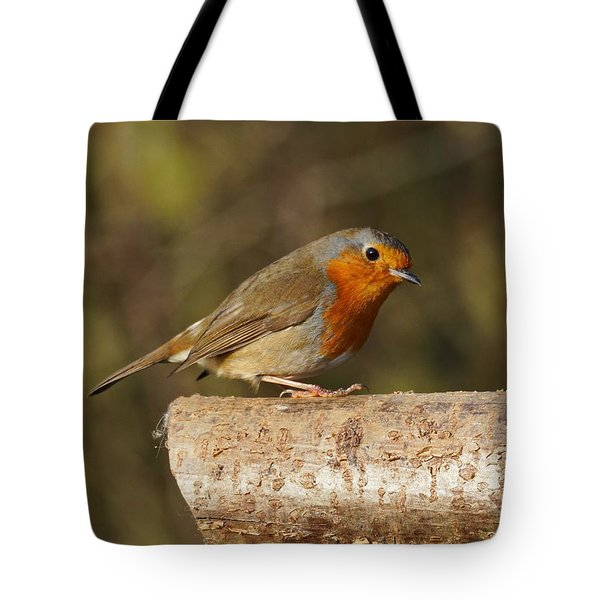 Robin On A Log Tote Bag
