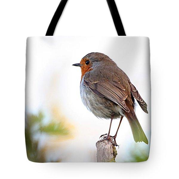 Robin On A Pole Tote Bag