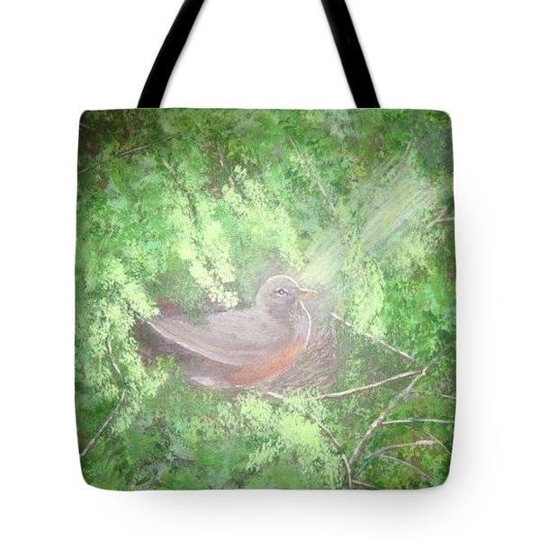 Robin On Her Nest Tote Bag
