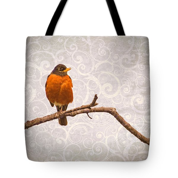 Tote Bag featuring the photograph Robin With Damask Background by Peggy Collins