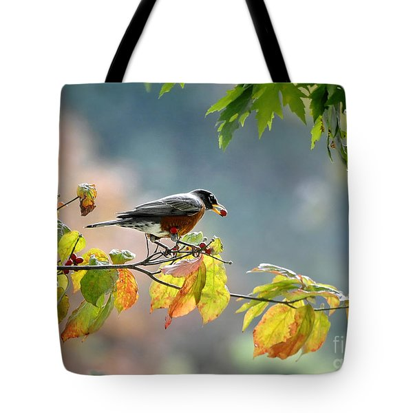 Tote Bag featuring the photograph Robin With Red Berry by Nava Thompson