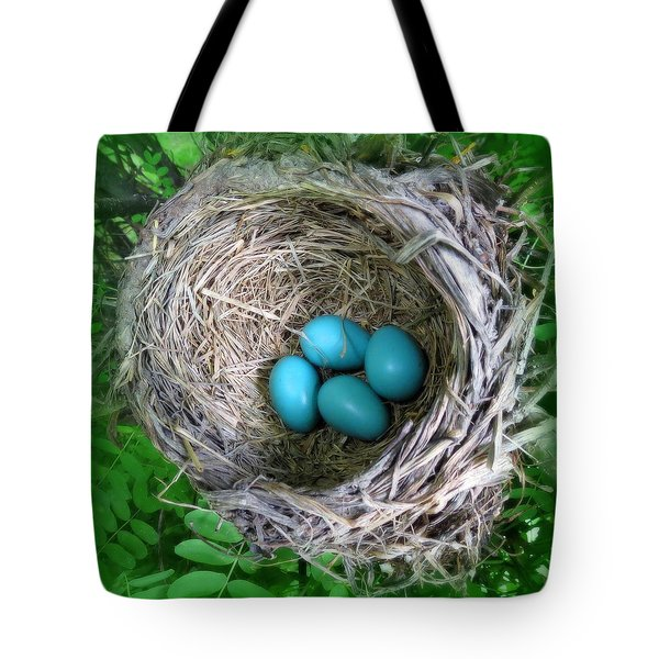 Tote Bag featuring the photograph Robin's Eggs by Ramona Johnston