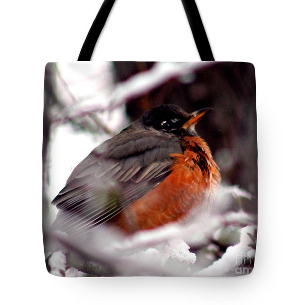 Tote Bag featuring the photograph Robins' Patience by Lesa Fine