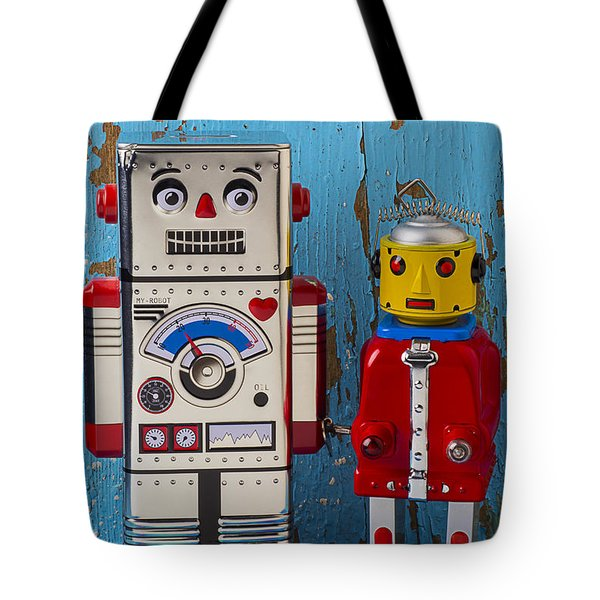 Robot Friends Tote Bag by Garry Gay