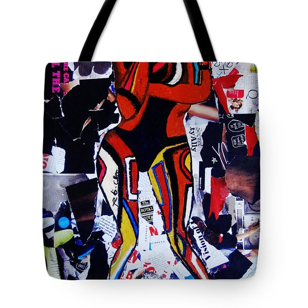 Tote Bag featuring the painting Robot Girl by Tarra Louis-Charles