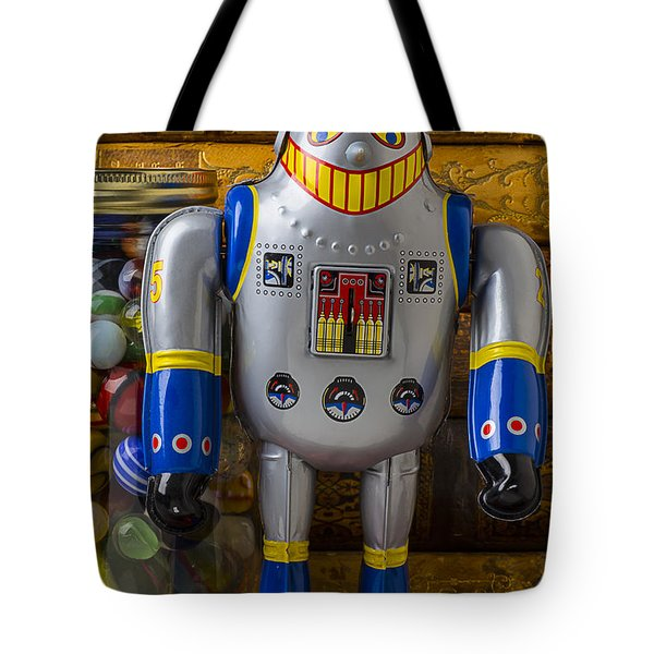 Robot With Marbles And Books Tote Bag by Garry Gay
