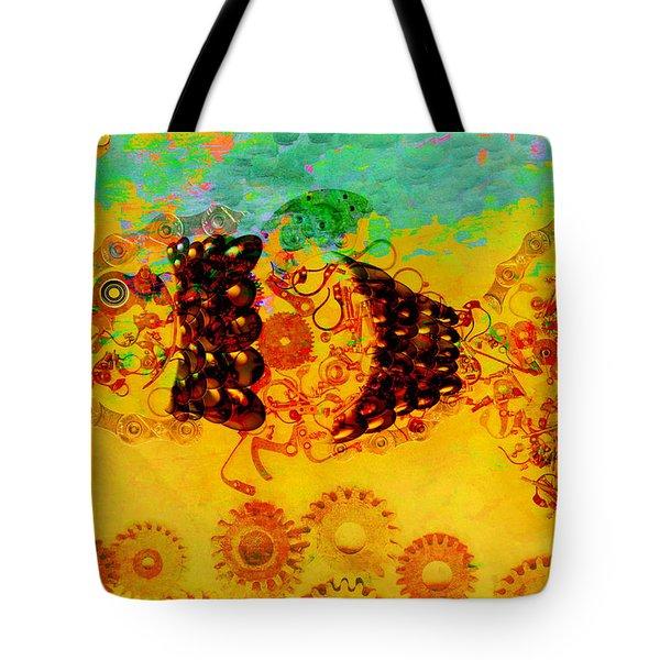 Robotic Fossil - Fish Tote Bag by Fran Riley