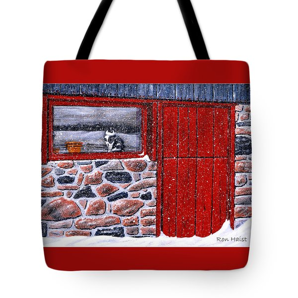Tote Bag featuring the painting Rob's Barn by Ron Haist