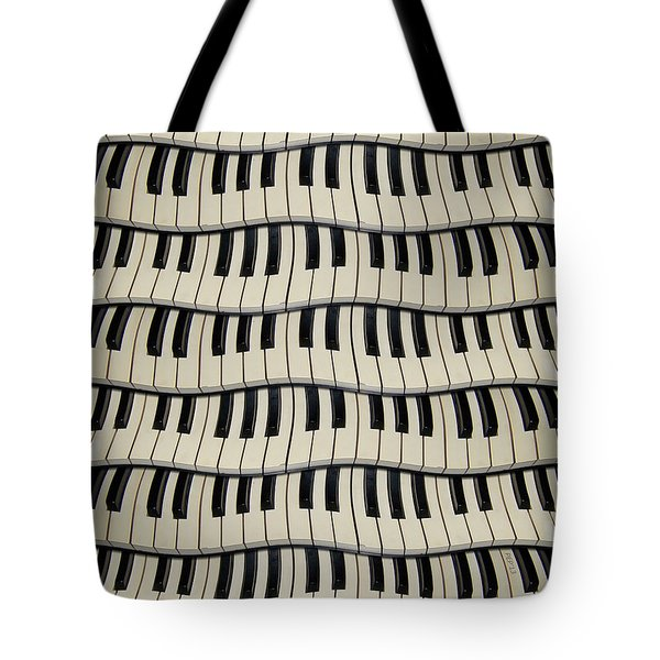 Rock And Roll Piano Keys Tote Bag by Phil Perkins