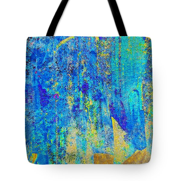 Rock Art Blue And Gold Tote Bag