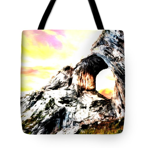 Tote Bag featuring the painting Rock Cliff Sunset by Bruce Nutting