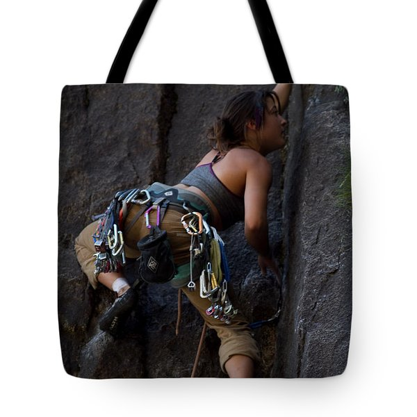 Tote Bag featuring the photograph Rock Climbing by Brian Williamson