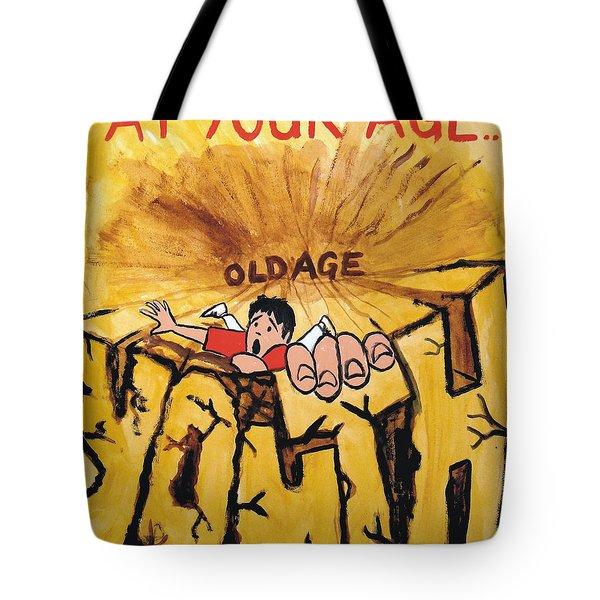 Rock Climbing Cartoon Tote Bag