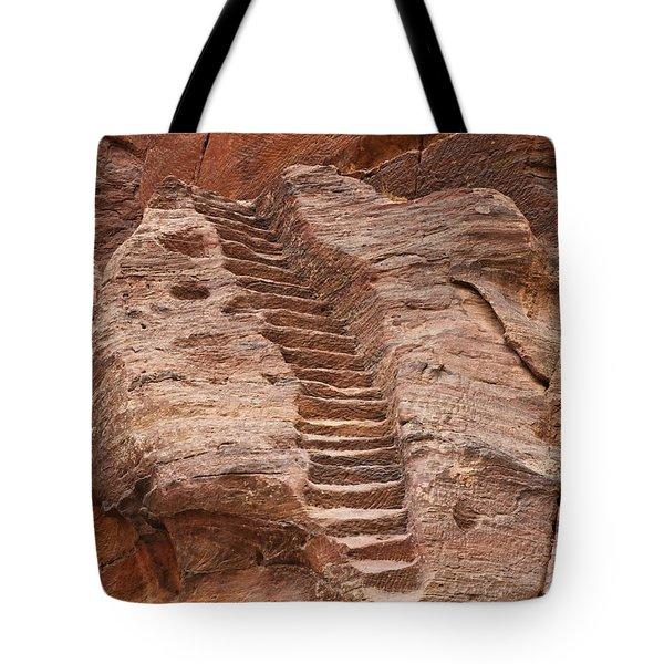 Rock Cut Stairway Of The Street Of Facades Petra Jordan Tote Bag by Robert Preston