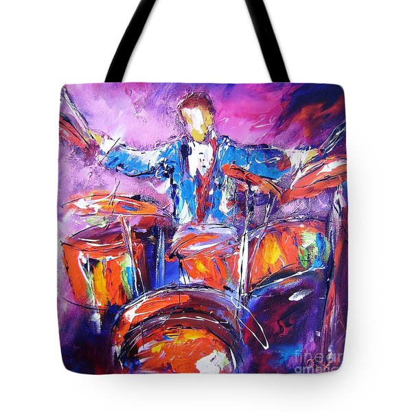 Rock Drummer Painting Available As An Art Print  Tote Bag