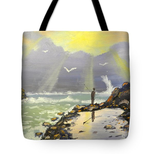 Tote Bag featuring the painting Rock Fishing At Wombarra  by Pamela  Meredith