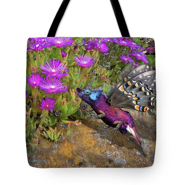 Tote Bag featuring the digital art Rock Flower Birguana Fly by Arthur Fix