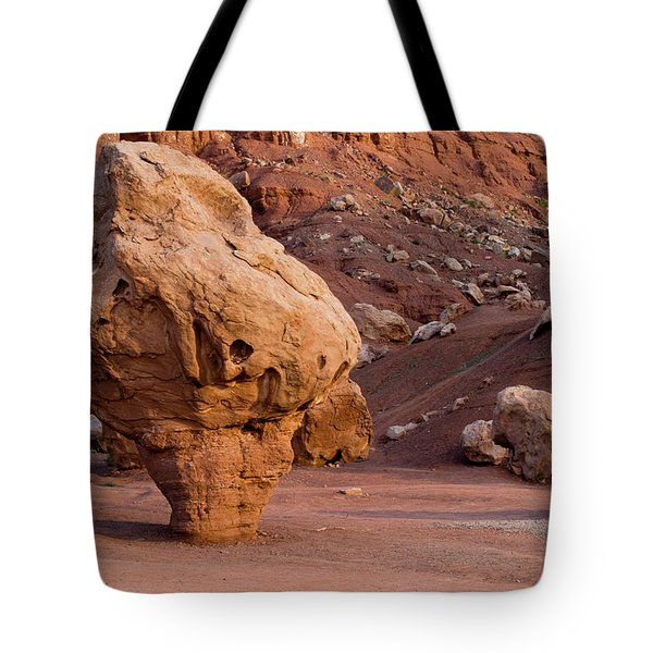 Rock Formations In A Desert, Vermilion Tote Bag